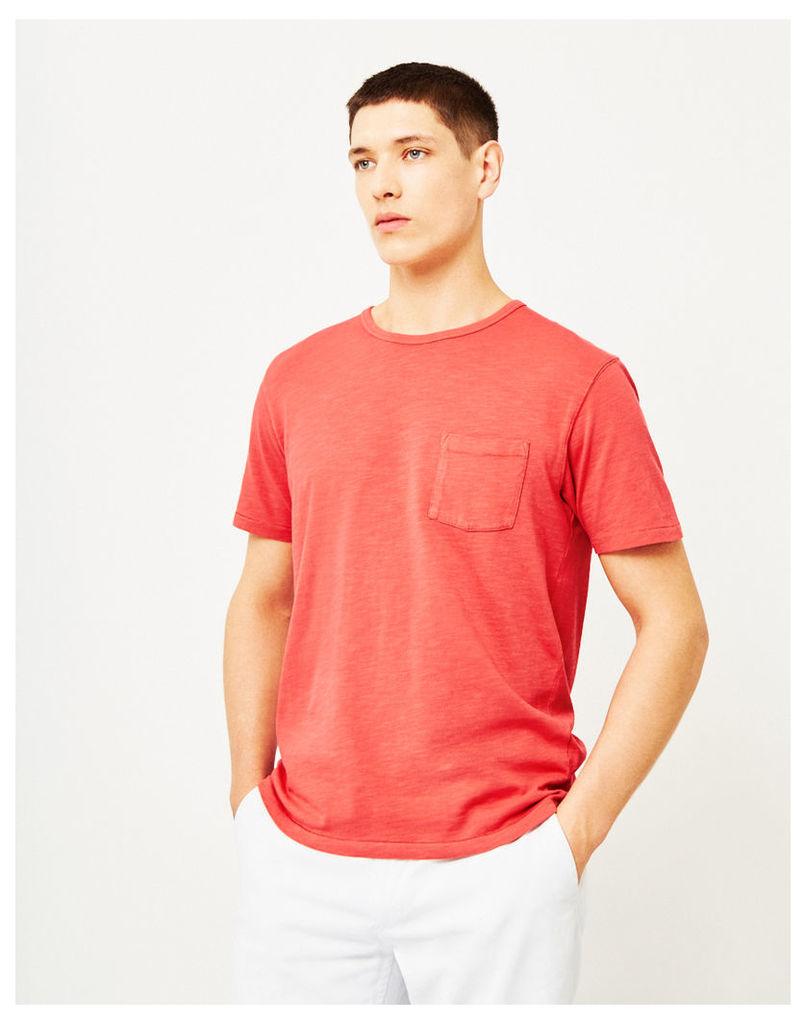 Hawksmill Garment Dyed Slub Pocket T-Shirt Red