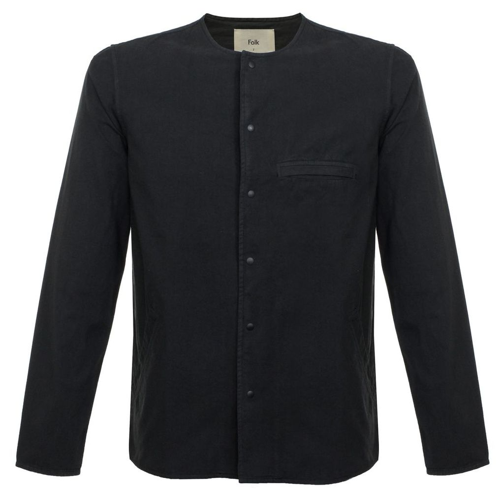 Folk Collarless Pop Stud Black Shirt F2986BLKC