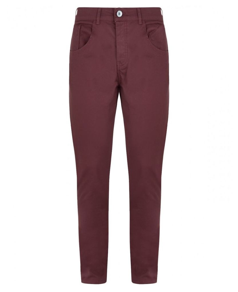 Men's Blue Inc Burgundy Skinny Fitted Twill Jeans, Red