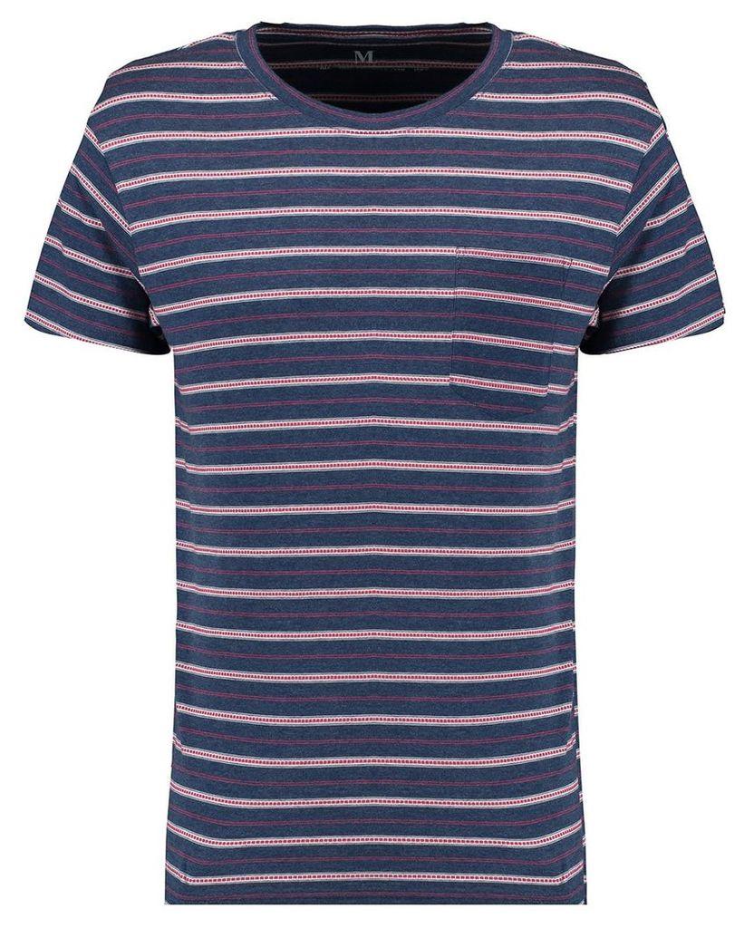 Men's Blue Inc Navy Blue All Over Pattern Stripe T-Shirt, Blue