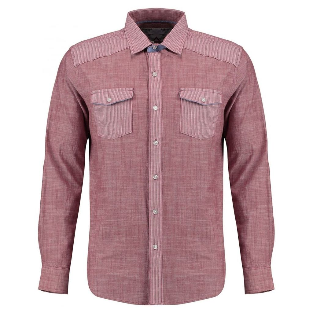 Men's Blue Inc Pink Two Front Pocket Long Sleeve Shirt, Pink