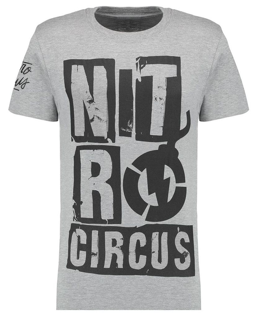 Men's Blue Inc Light Grey Short Sleeve Nitro Circus Ransom Printed T-shirt, Grey