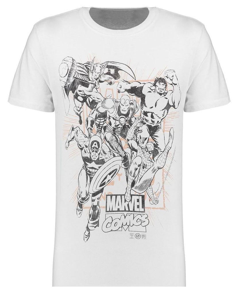 Men's Blue Inc White Marvel Band Of Heroes Print T-Shirt, White
