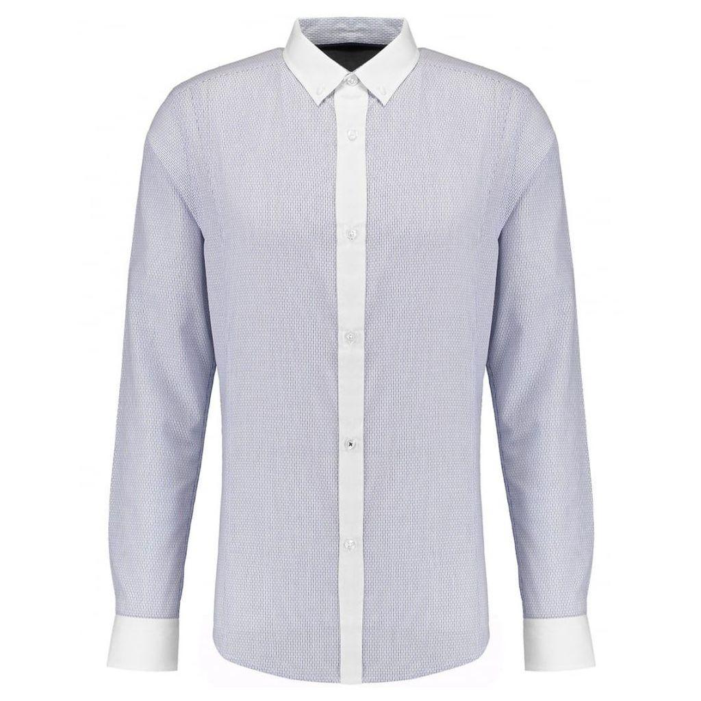 Men's Blue Inc White Long Sleeve Textured Shirt, White