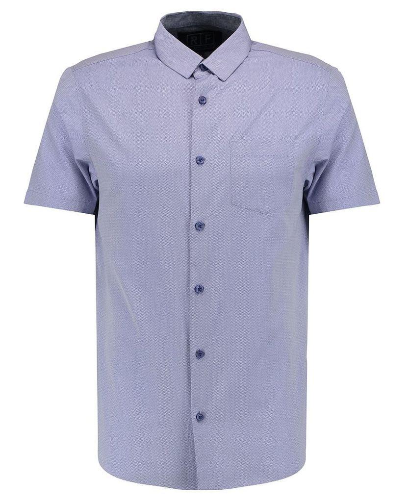 Men's Blue Inc Navy Blue Short Sleeve Textured Formal Shirt, Blue