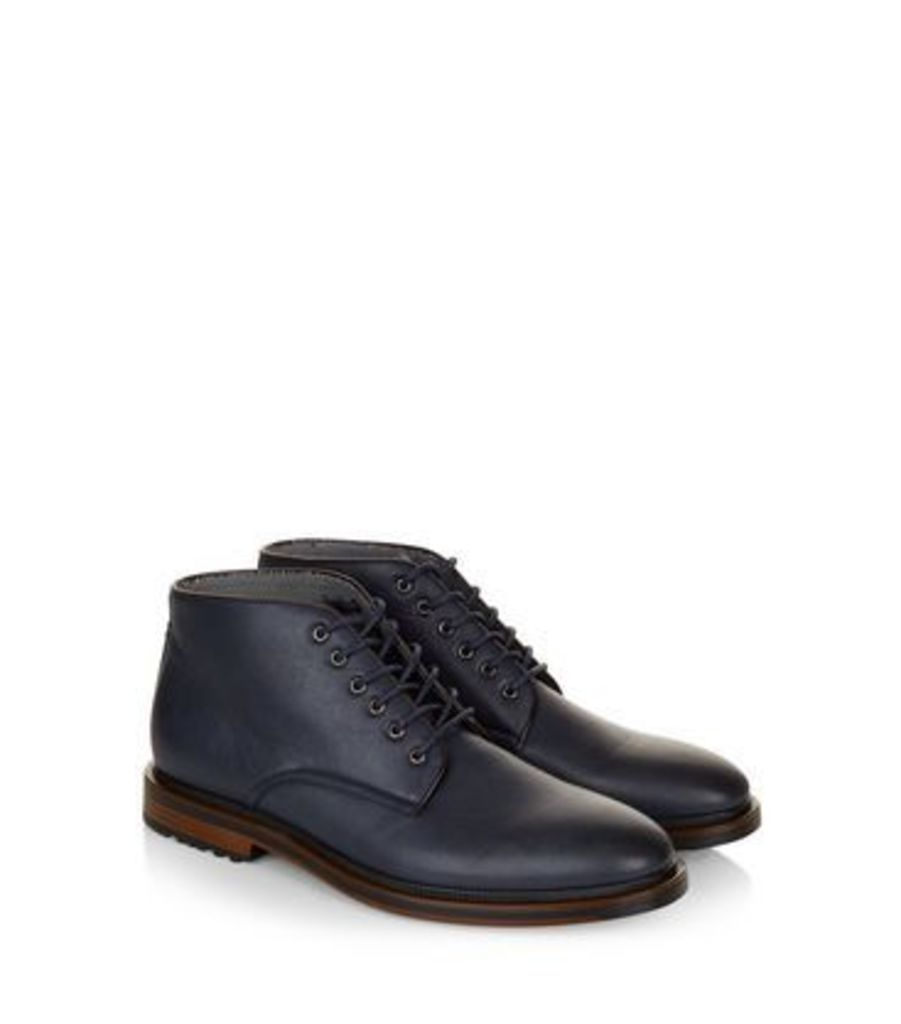 Navy Lace Up Boots