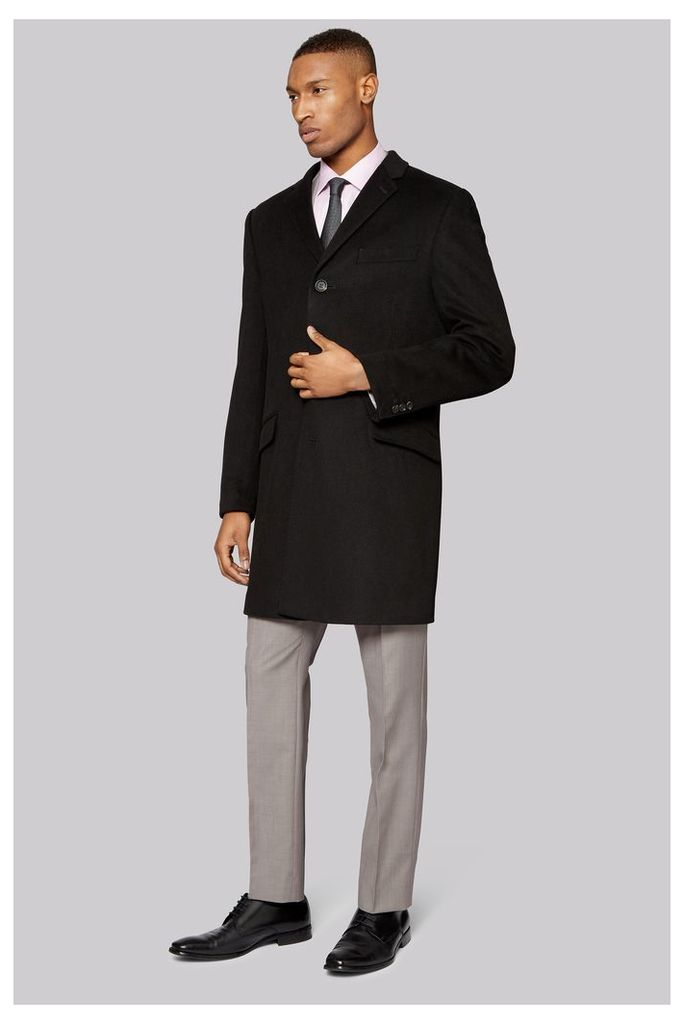 DKNY Tailored Fit Black Epsom Overcoat