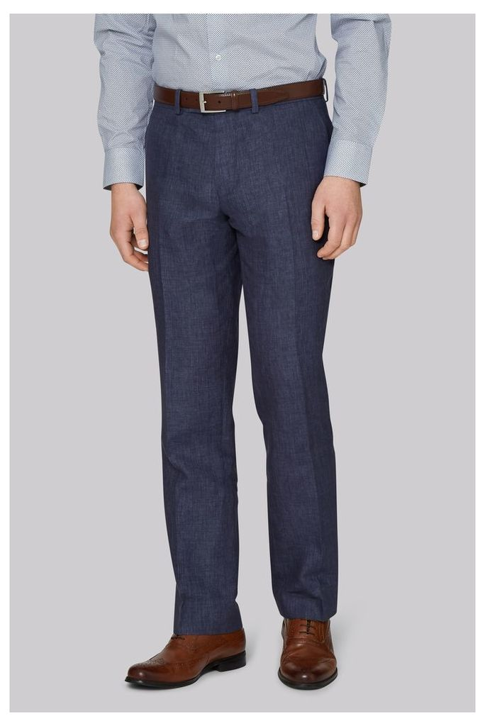 Moss 1851 Tailored Fit Indigo Linen Trousers