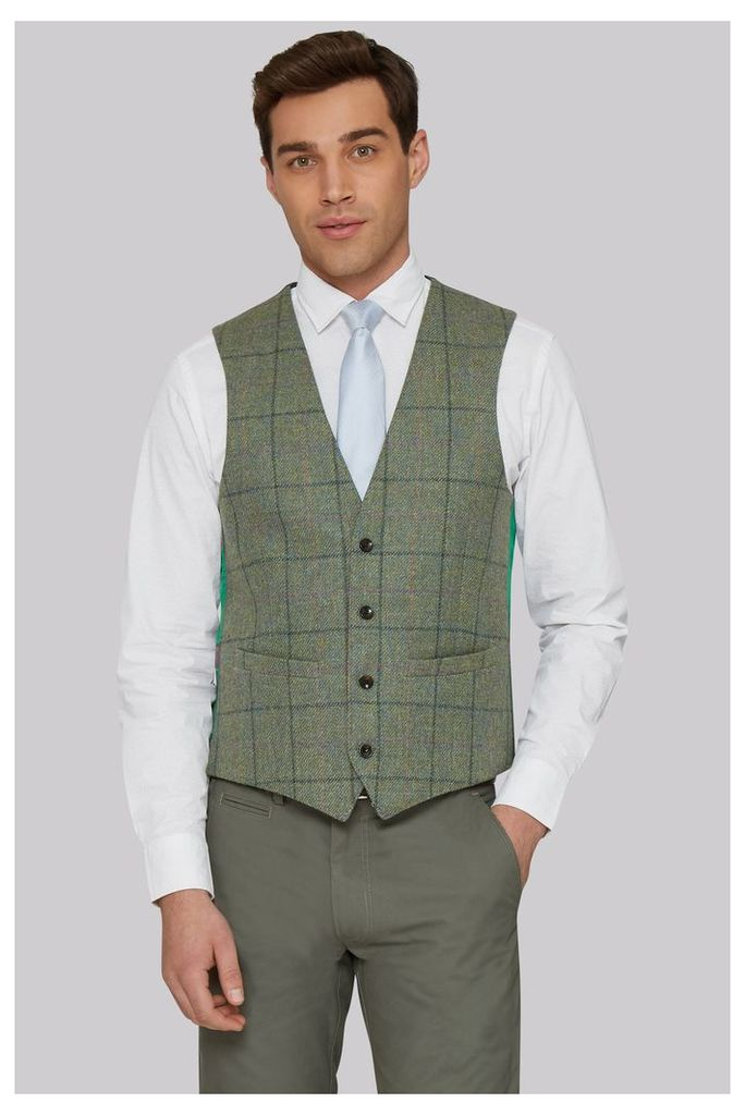 Moss 1851 Tailored Fit British Wool Green Multicheck Waistcoat