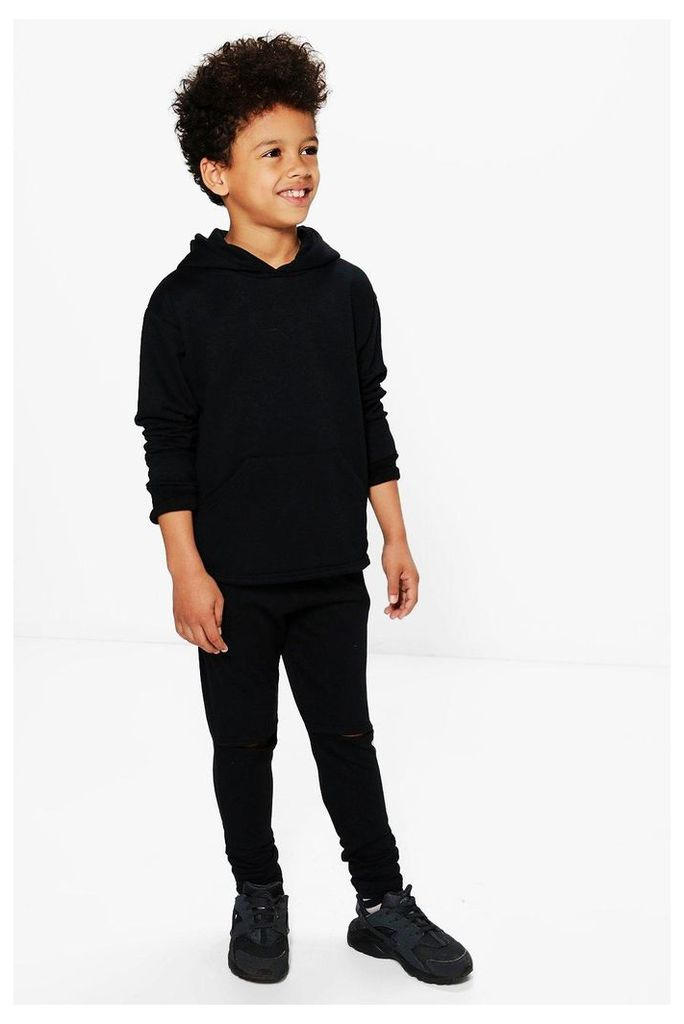 Split Knee Tracksuit Set - black