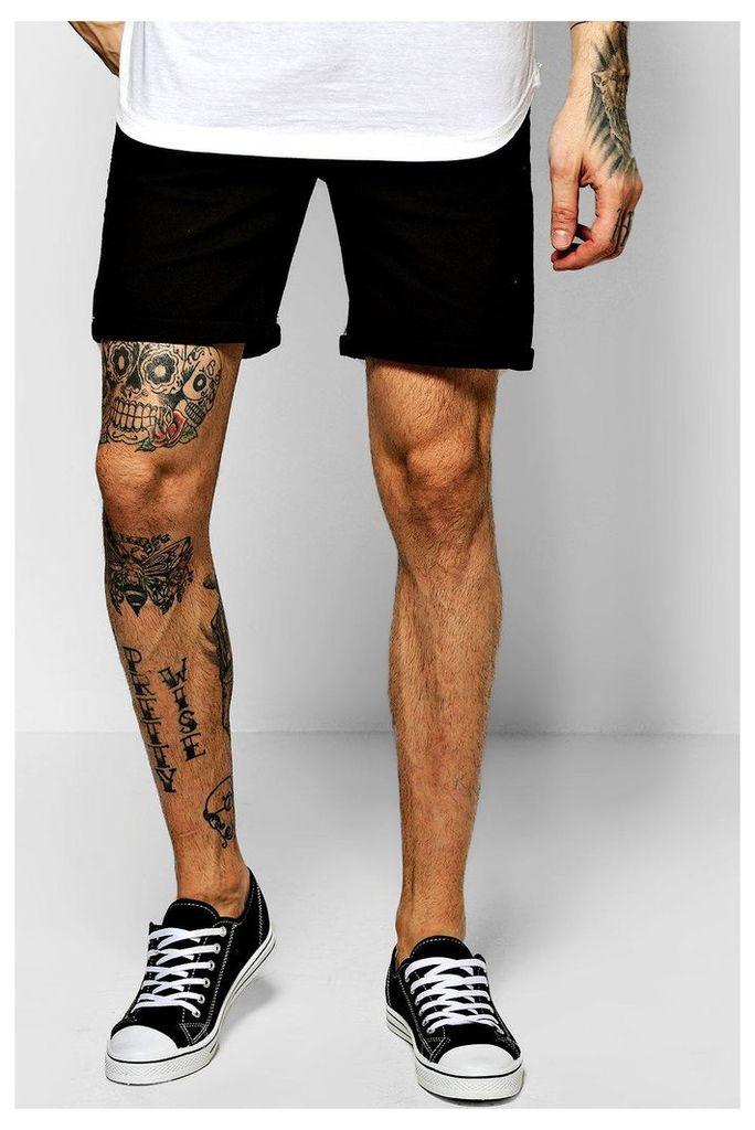Fit Black Denim Shorts - black