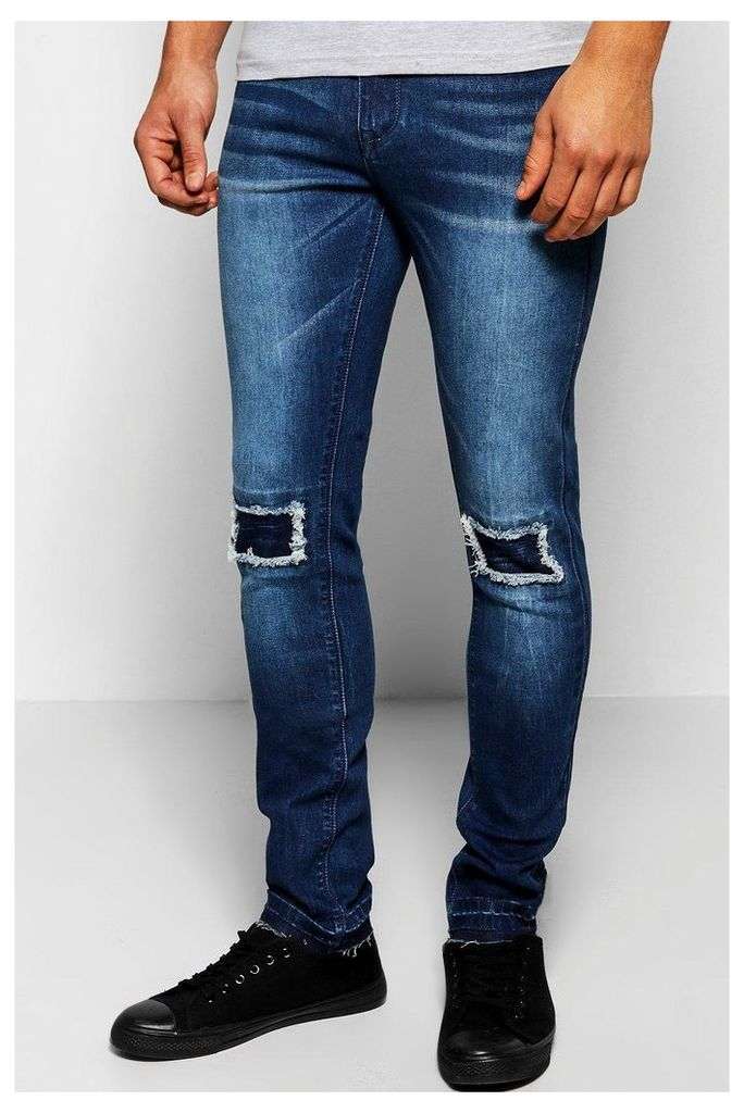 Fit Stretch Jean With Raw Edge Cuff - indigo