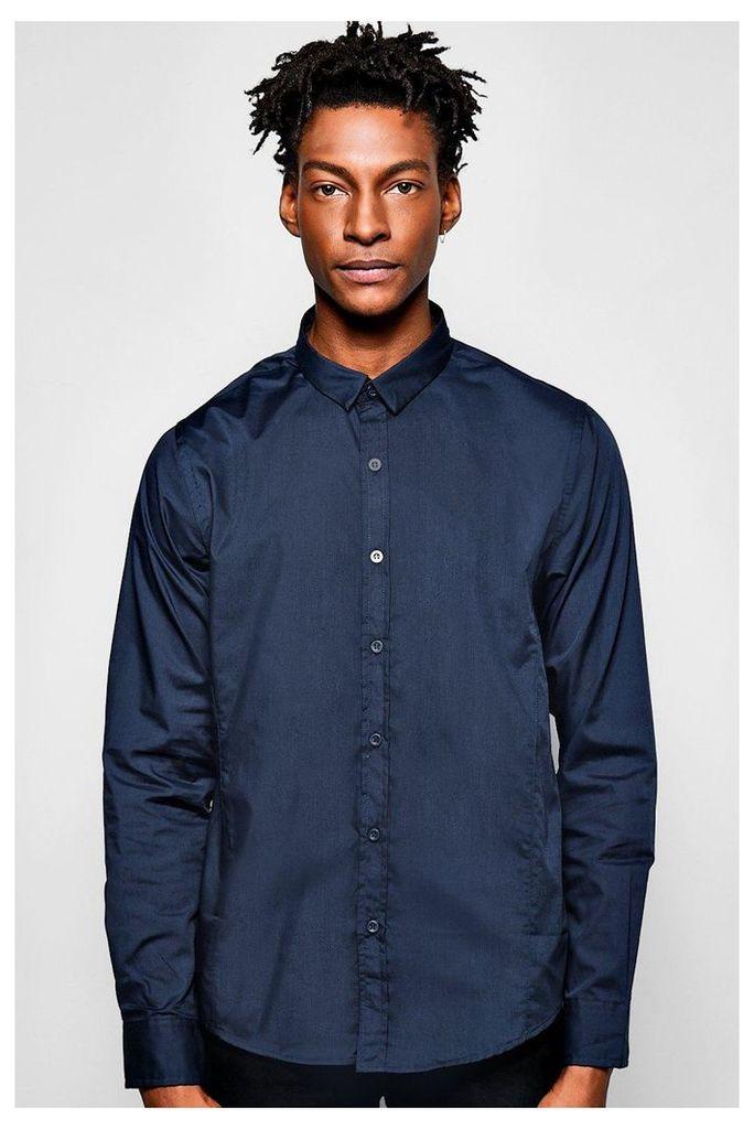 Poplin Long Sleeve Shirt - navy