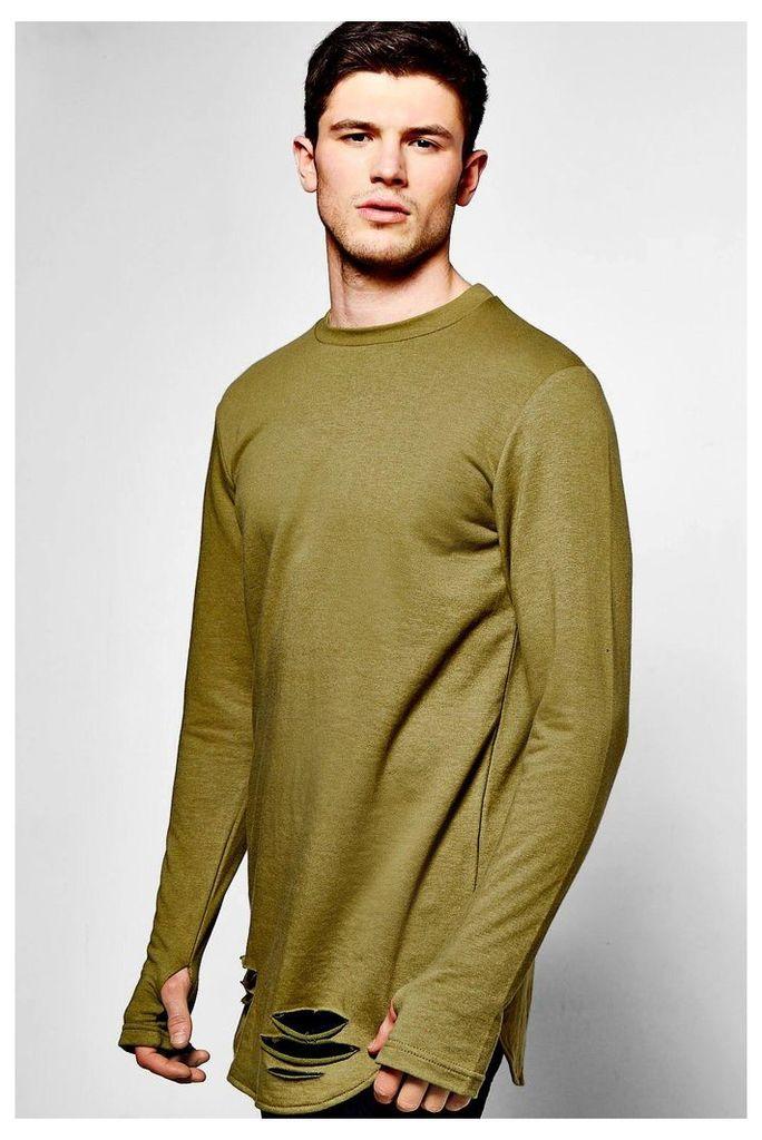 Curve Hem Sweater With Thumb Hole - khaki