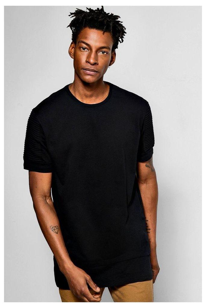 Biker T Shirt With Stepped Hem - black
