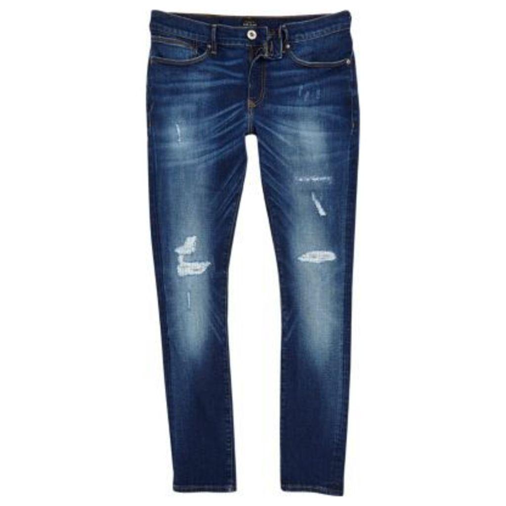 River Island Mens Blue wash fade super skinny Danny jeans