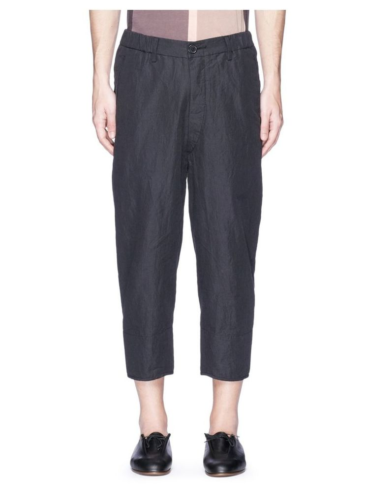 Cropped ramie-cotton pants