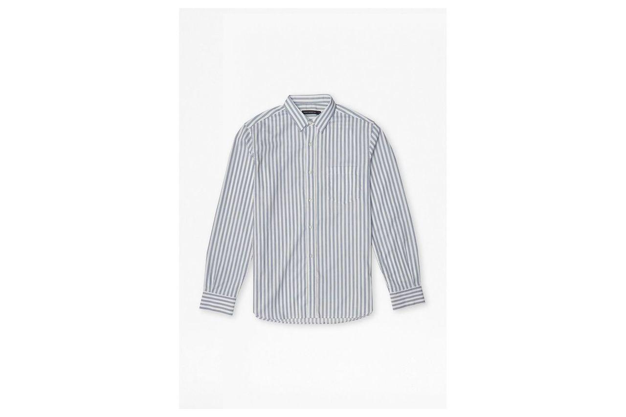 Thin Stripe Cotton Shirt - white/blue stripes