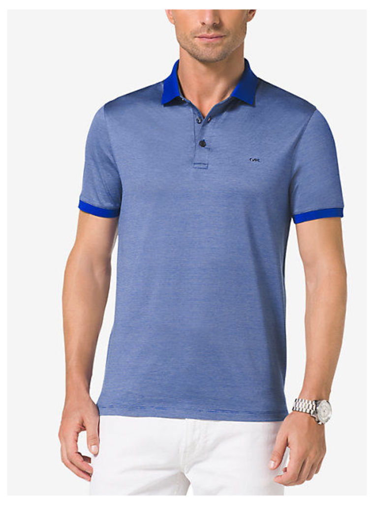 Chambray-Trim Cotton Polo Shirt