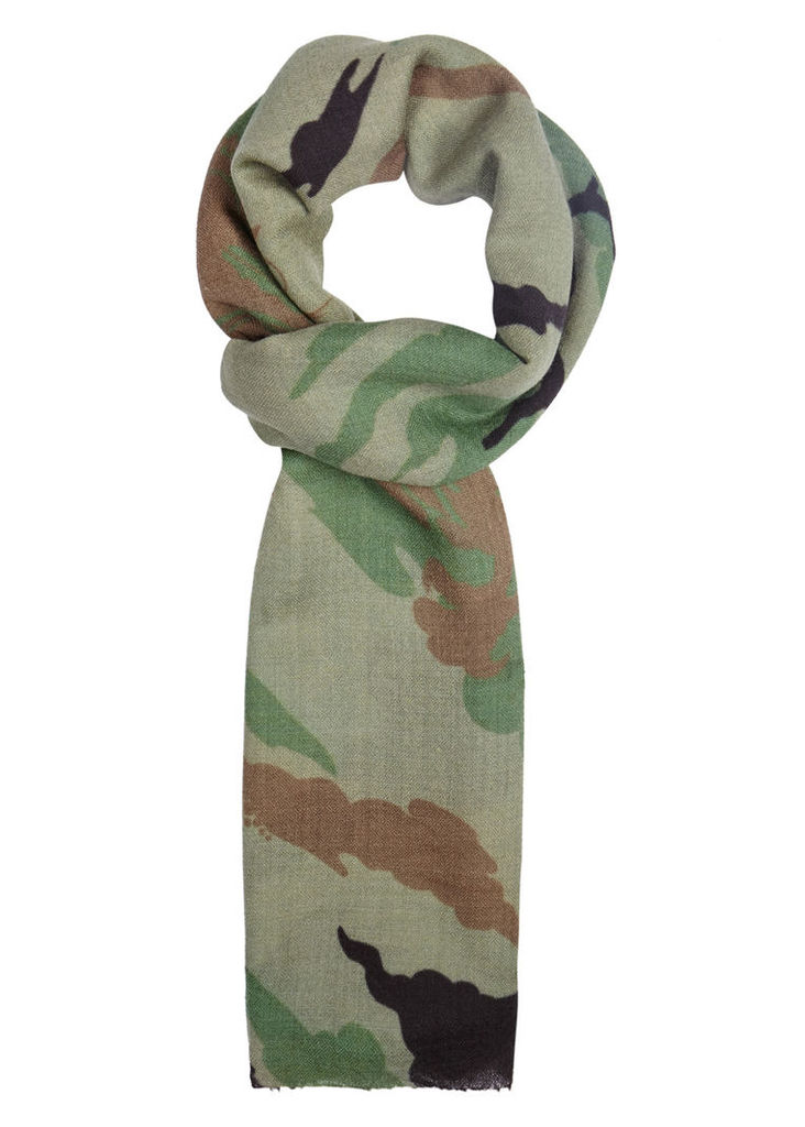 Bonsai Forest camouflage-print cashmere blend scarf
