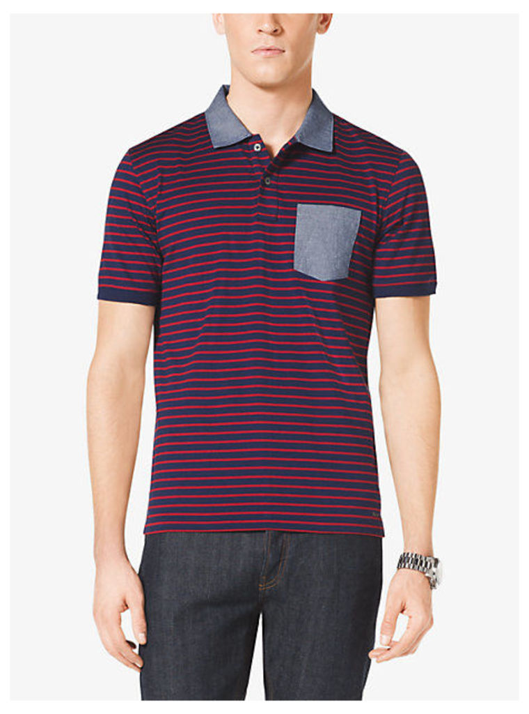Pocket-Front Striped Cotton Polo Shirt