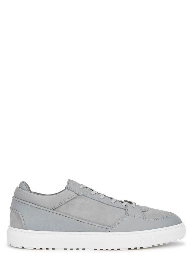 Low 3 grey leather and suede trainers