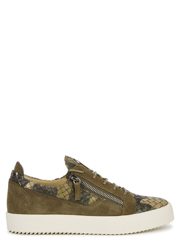 Green woven leather trainers