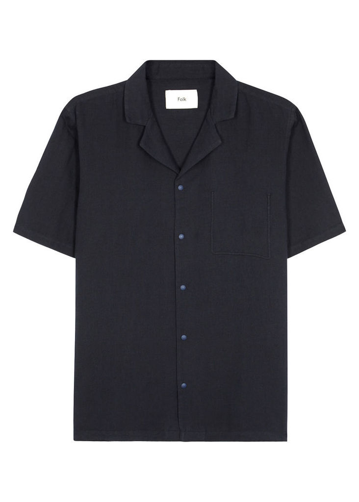 Pop Piano navy linen blend shirt