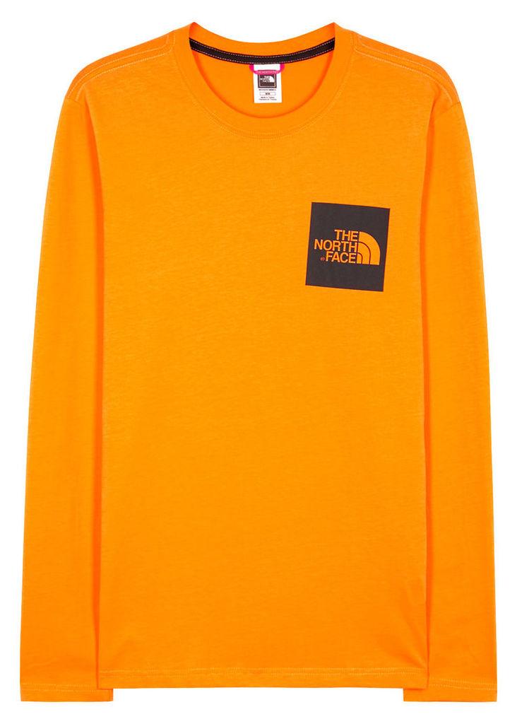 Orange logo-print cotton top