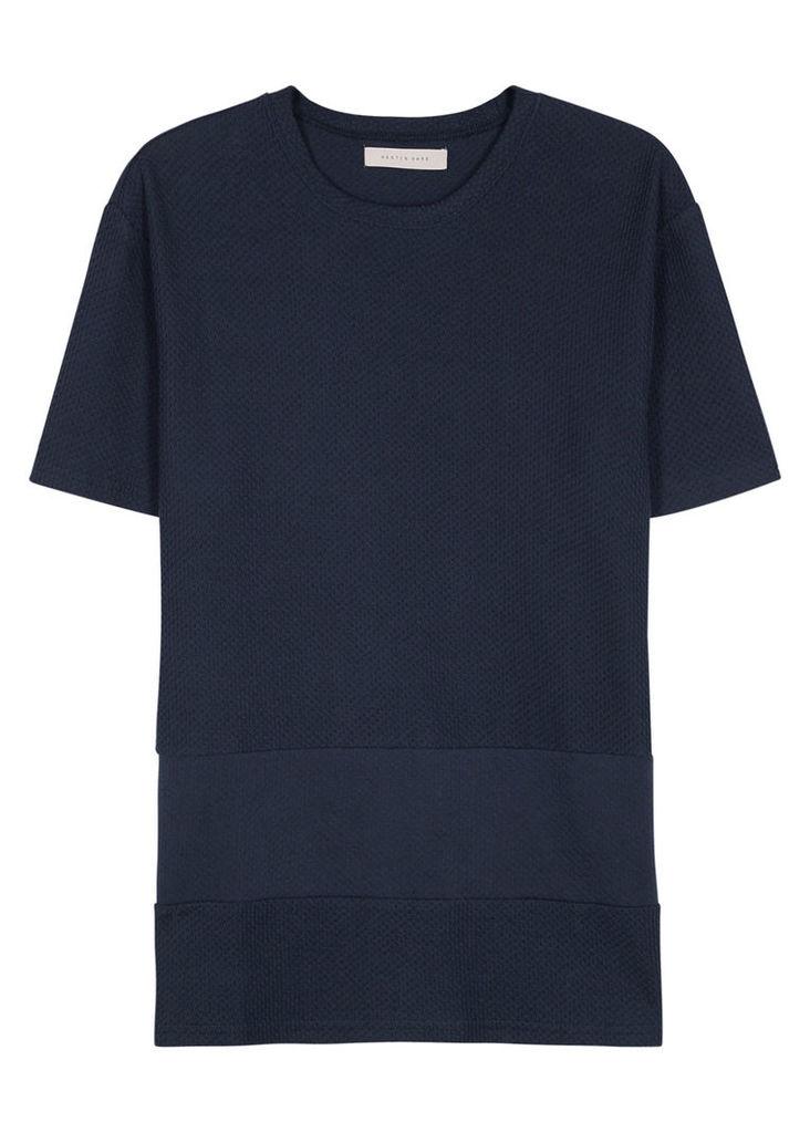 Navy waffle-knit cotton T-shirt