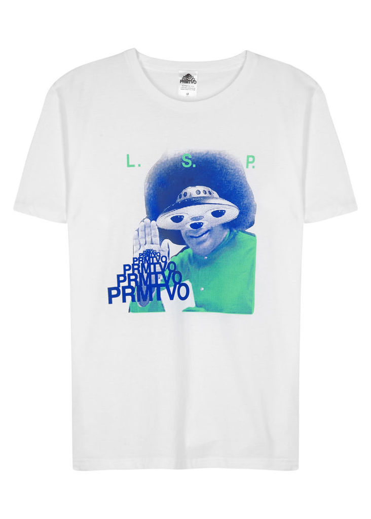 I Come In Peace white cotton T-shirt