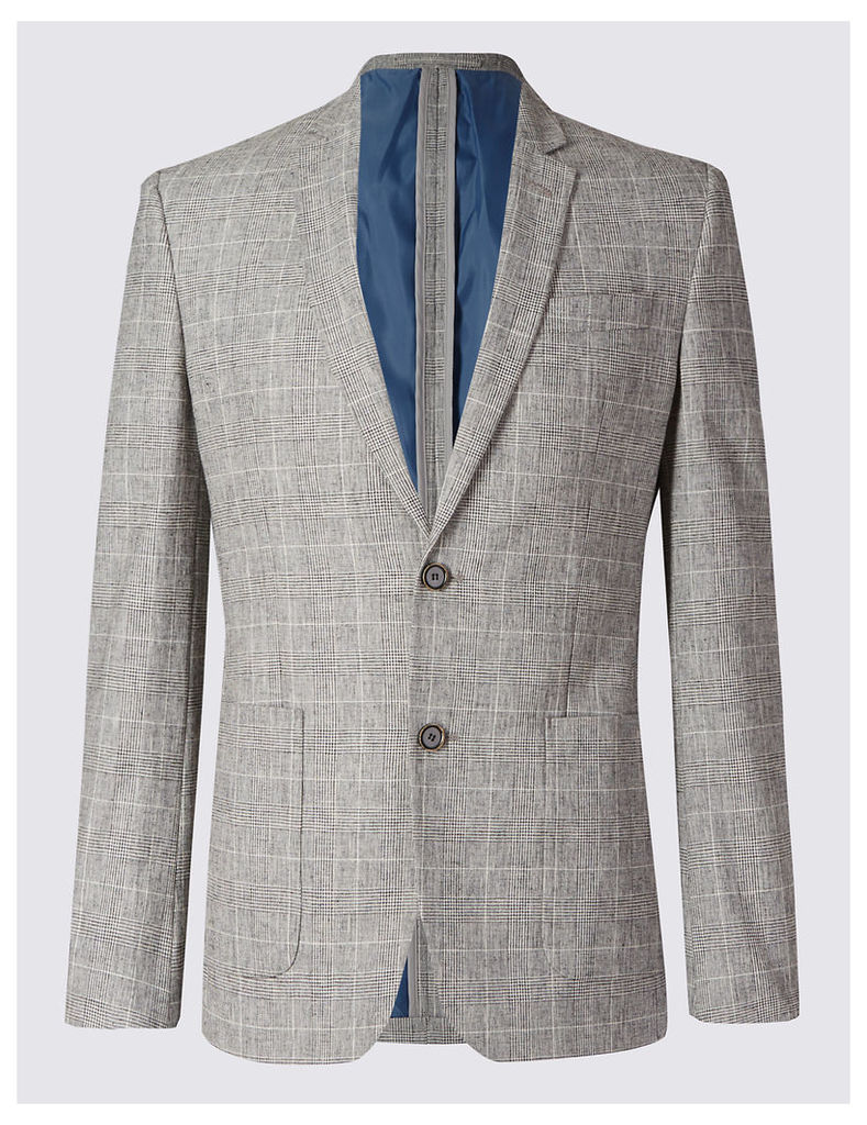 M&S Collection Cotton Blend Checked Jacket