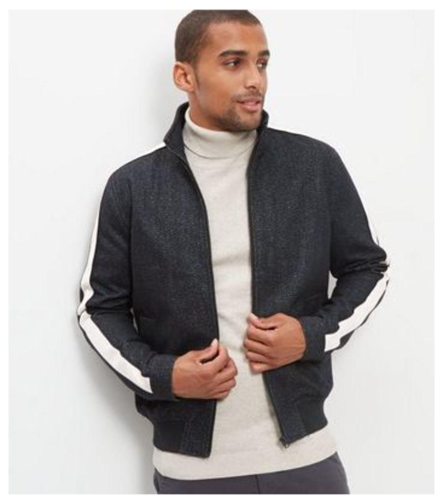 Black Contrast Stripe Sleeve Jacket