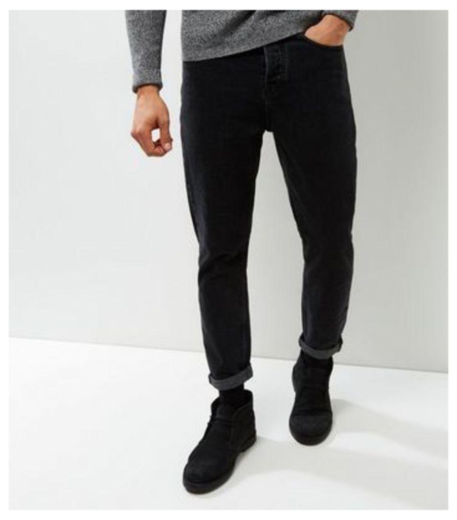 Black Washed Tapered Slim Leg Jeans