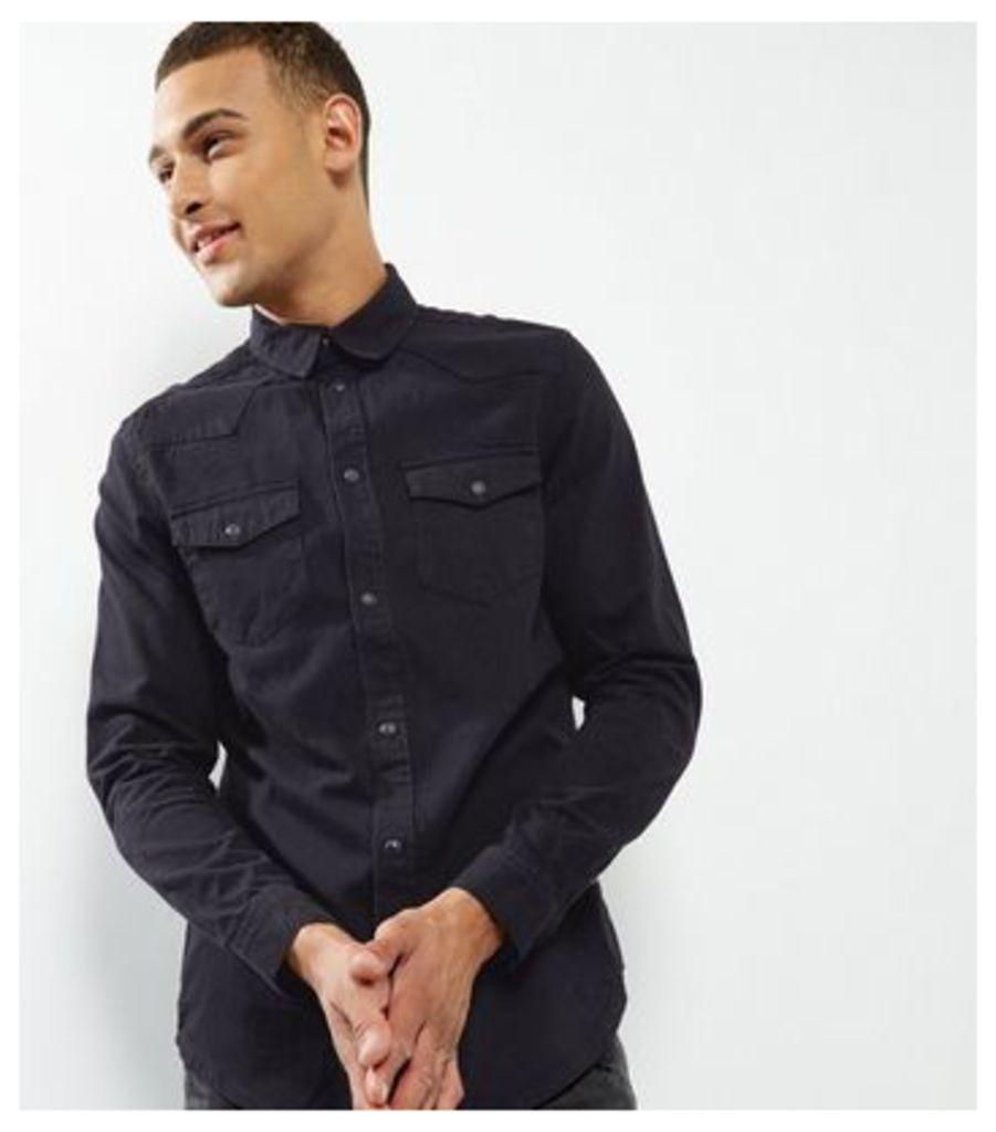 Black Double Pocket Long Sleeve Denim Shirt