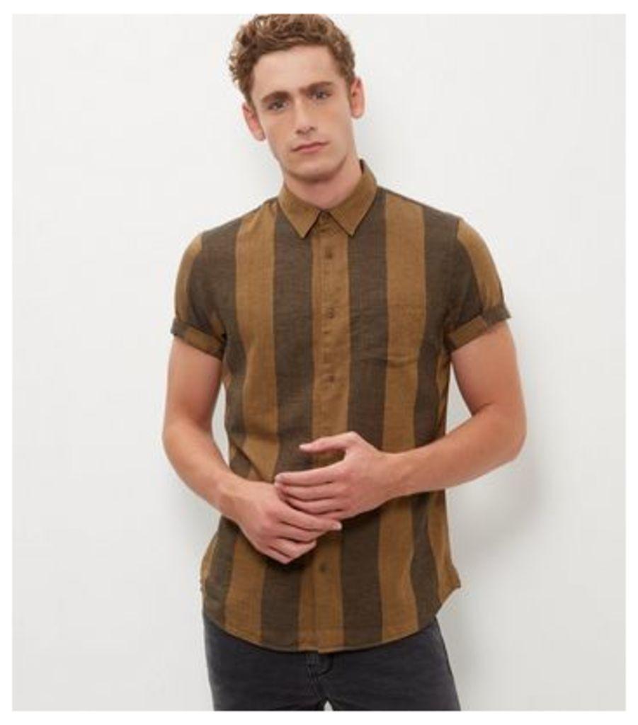 Brown Stripe Short Sleeve Shirt