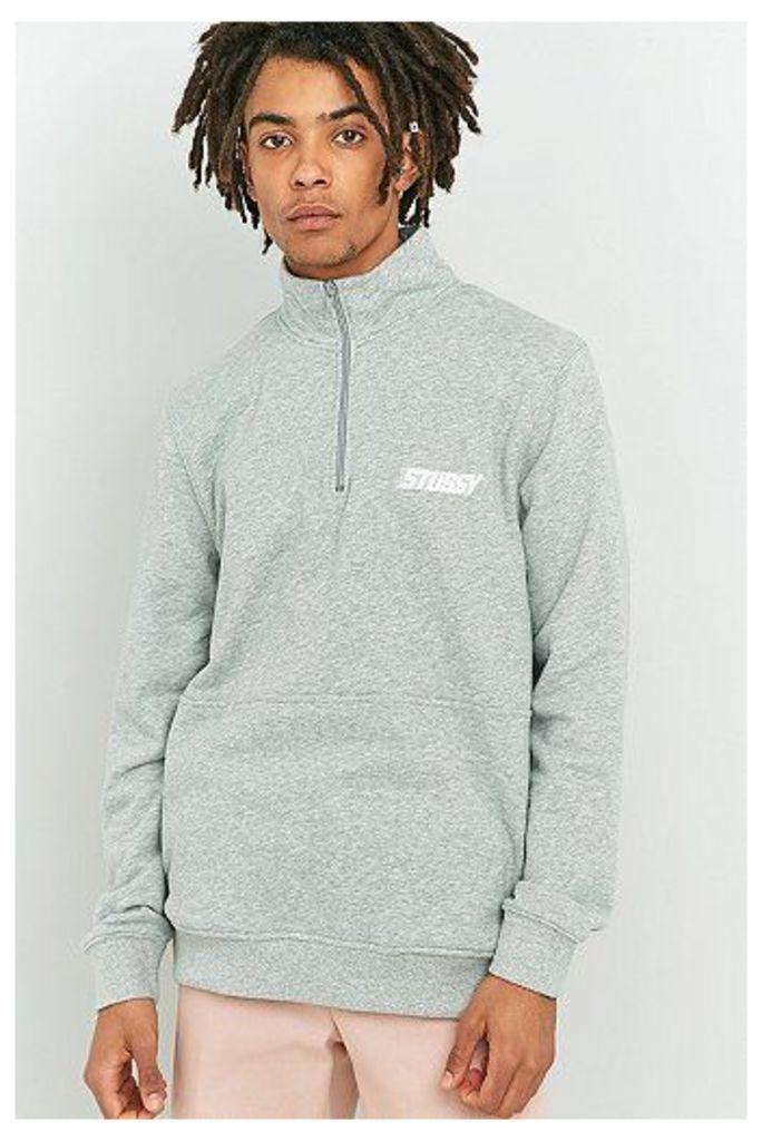 Stussy Nylon Panel Mock Neck Sweatshirt, Grey