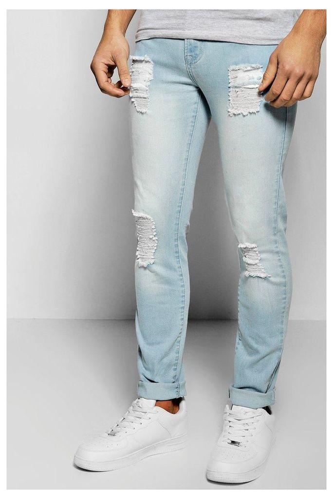 Skinny Fit Destroyed Jeans - blue