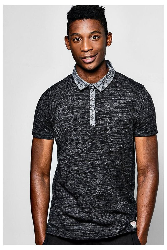 T Shirt With Chambray Collar - charcoal