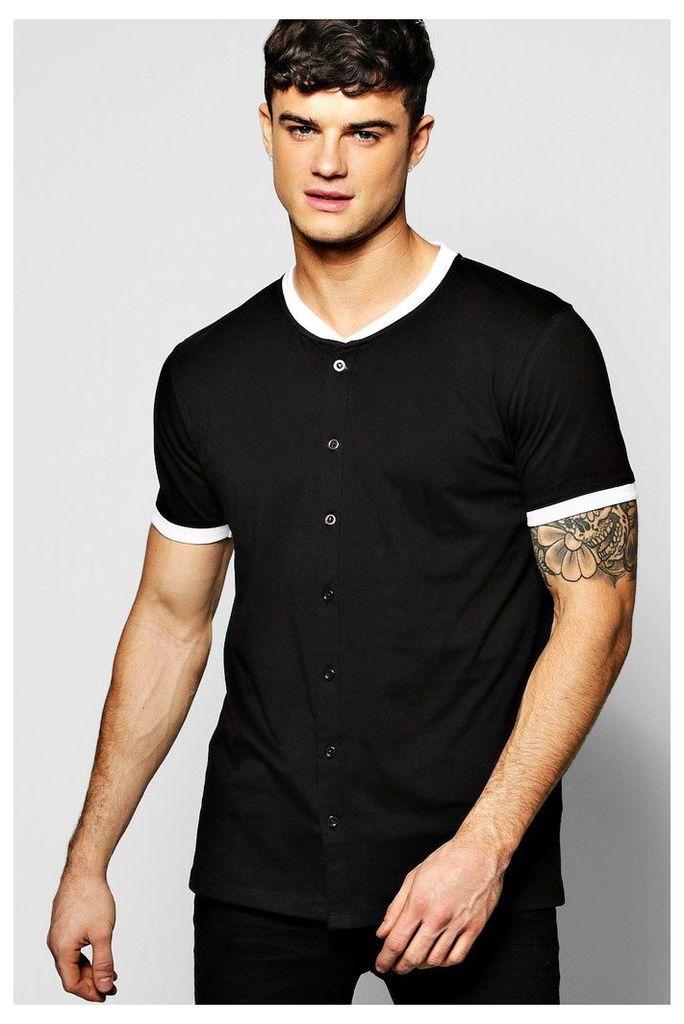 Neck Button Through T-Shirt - black