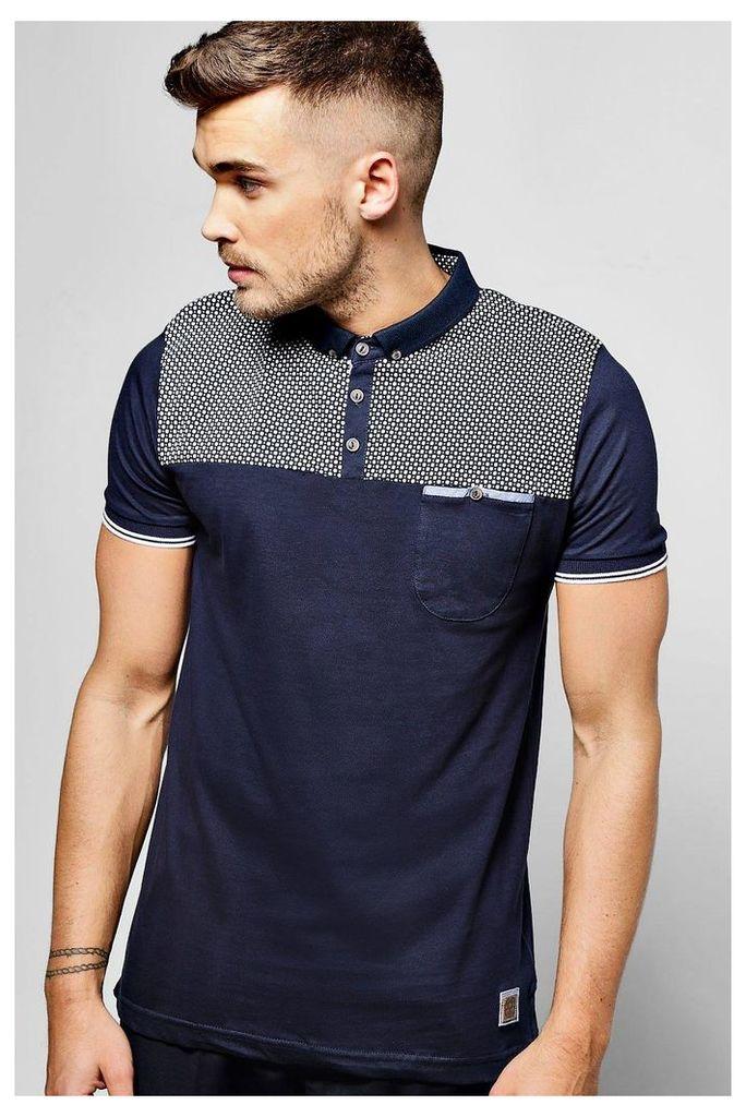 T Shirt With Yoke Print & Pocket - navy