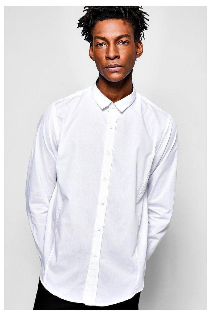 Poplin Long Sleeve Shirt - white