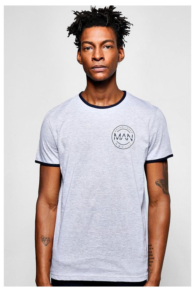 Sleeve Ringer T Shirt With Chest Print - grey