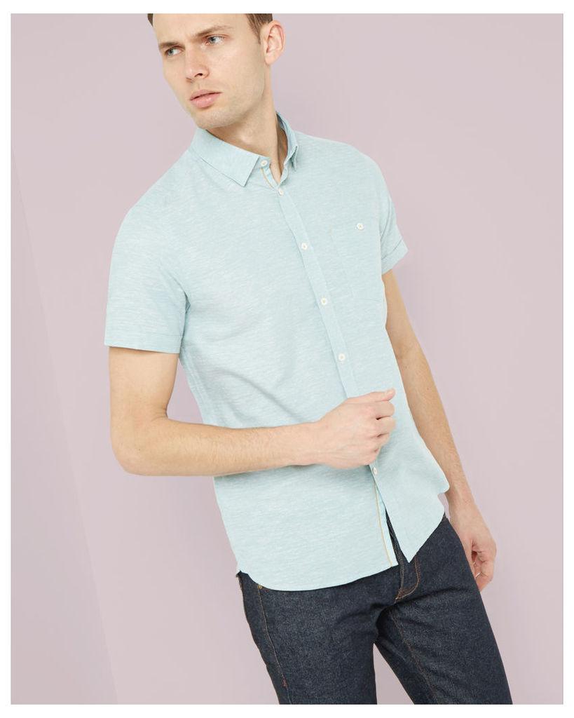 Ted Baker Short sleeved textured linen shirt Green