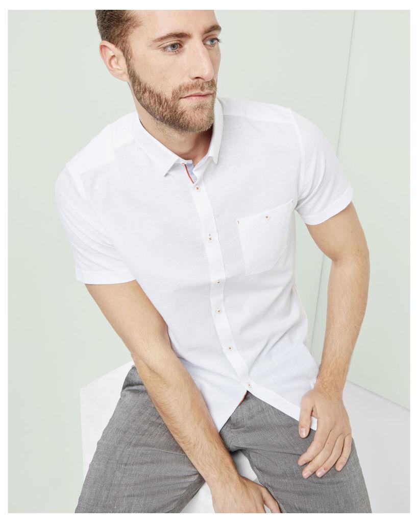Ted Baker Short sleeved textured linen shirt White