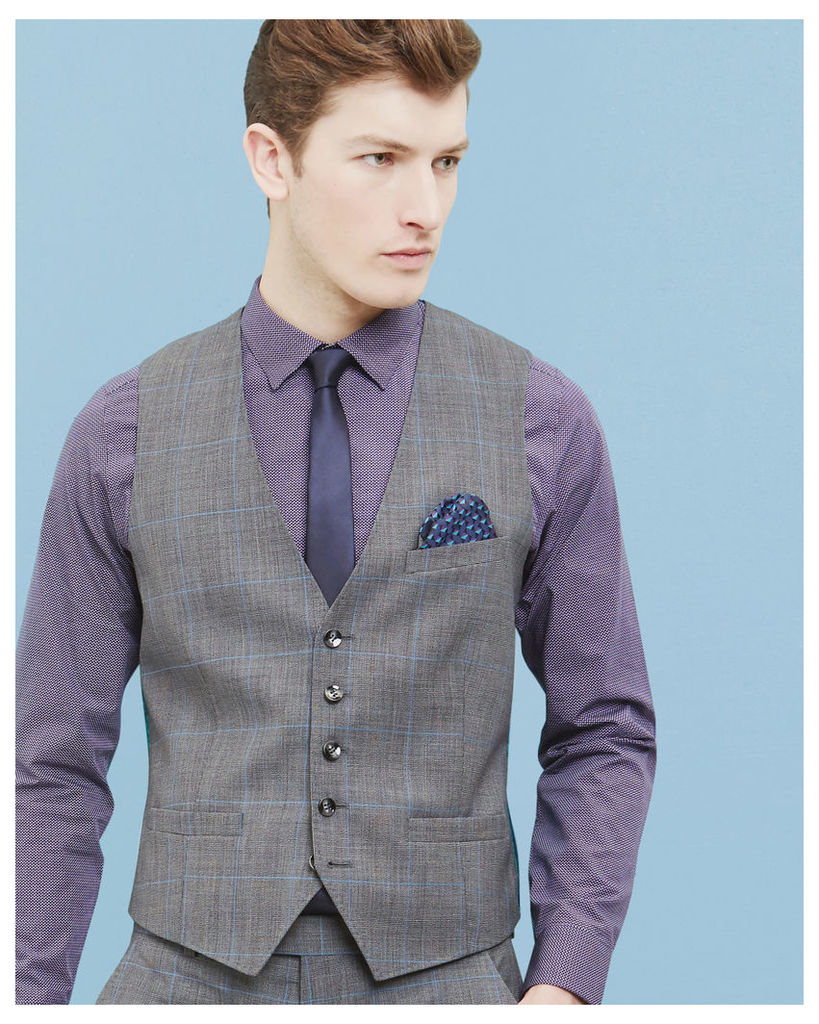 Ted Baker Prince of Wales checked wool waistcoat Grey