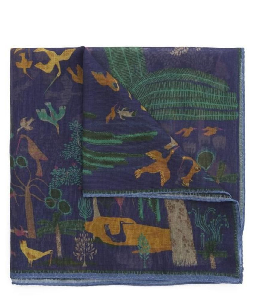 Palm and Bird Pocket Square