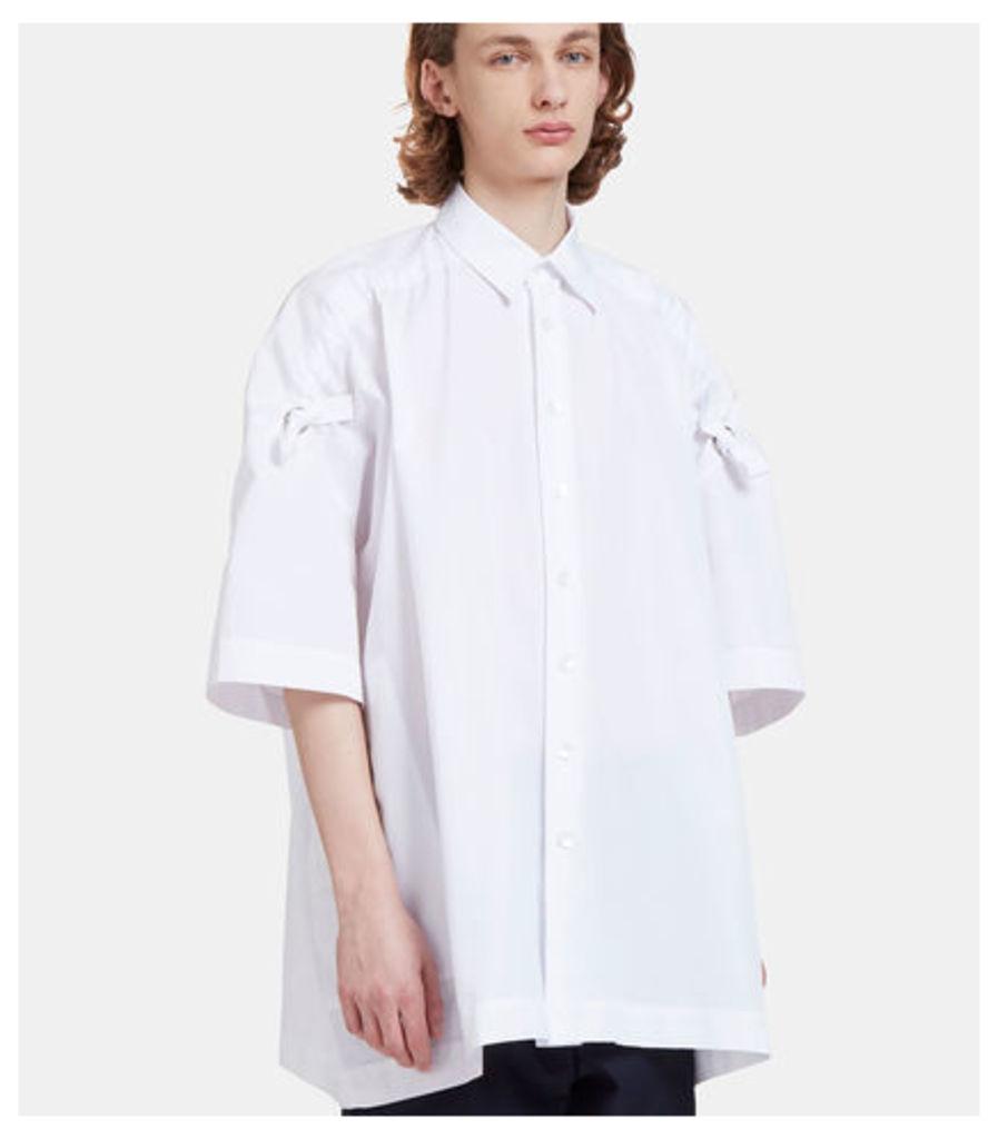 Free Oversized Ruched Shoulder Tie Shirt