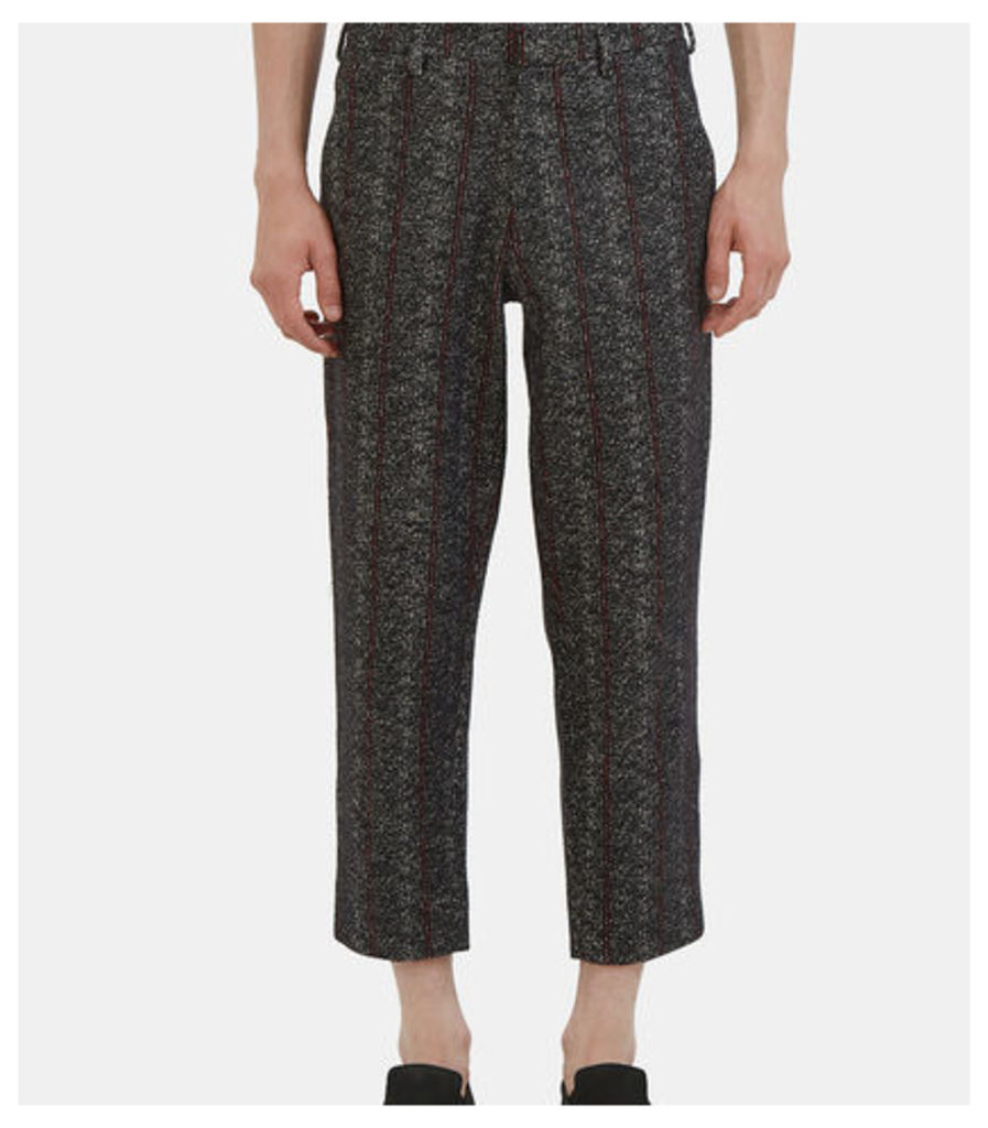 Patterned Wide Leg Cropped Pants