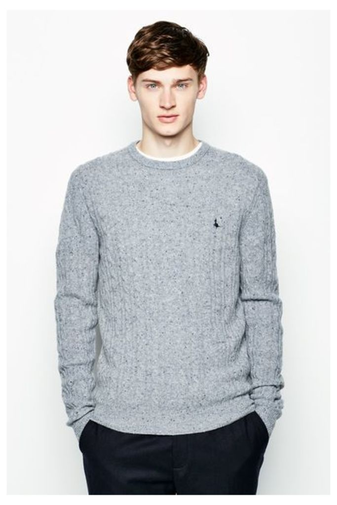 MARLOW CABLE CREW NECK JUMPER LT GR DONE